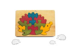 Wooden Puzzle Hedgehog Jigsaw Puzzle Toddler Gift by PawooToys