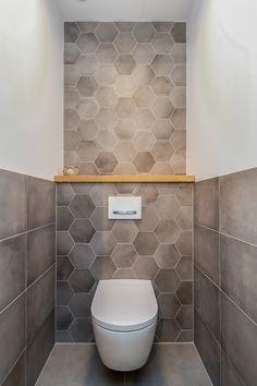 Small Downstairs Toilet, Small Toilet Room, Small Bathroom, Hexagon Tile Bathroom, Hexagon Tiles, Industrial Bathroom, Bathroom Interior, Understairs Toilet, Splashback Tiles