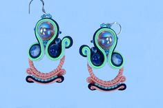 Colorful earrings, gift for mom, gift women, Dangle soutache earrings,   gift for sister, earrings, gift for her, soutache earrings Soutache Earrings, Dangle Earrings, Gifts For Girls, Gifts For Mom, Sister Gifts, Dangles, Unique Jewelry, Handmade Gifts, Colorful