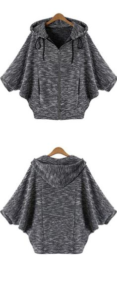Grey sweater coat with zipper & hood for a casual style outfit .Cotton blends material make a warm fall .