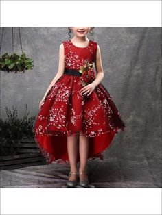 f2be0af0a4e2 Girls Sleeveless Floral Applique Hi-Low Holiday Dress for $49.99 at Mia  Belle Baby Dressy