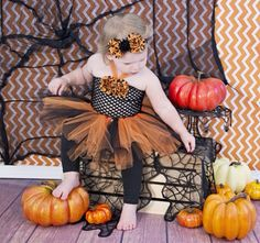 Baby tutu dress --- black and orange tutu set---Halloween tutu set ---baby photo sessions