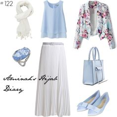 Baby blue shirt, white skirt, white scarf, baby blue shoes and bag, floral blazer, blue and silver ring