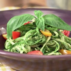 Summer Zucchini Pasta with Basil Pesto and Tomatoes Recipe - Shape Magazine (gluten free) Vegetarian Recipes, Cooking Recipes, Healthy Recipes, Easy Cooking, Veggie Dishes, Vegetable Recipes, Side Dishes, Asian Broccoli Slaw, Clean Eating