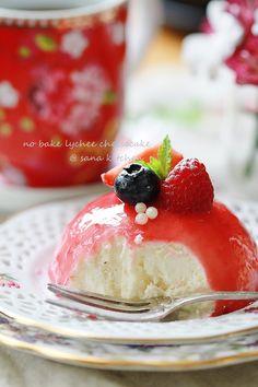 Lychee cheesecake with Raspberry glaze.