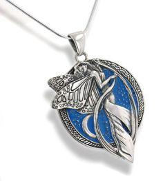 "Sterling Silver Sky Blue Moonlight Fairy Celtic Art Pendant 18"" Snake Necklace: Jewelry"