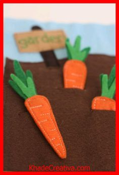 https://KhadeCreativa.com Quiet Book - I dont know why I love these felt carrots so much but they are adorable! source by :https://pinterest.com/pin/211880357445991321/