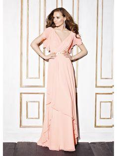 8f923996b1ca A-Line  V-neck Floor-Length Ruffle Sequins Chiffon Zipper Up Sleeves Short  Sleeves No Pearl Pink Spring Summer Fall Pink Bridesmaid Dress