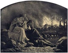 Conflagration, 1863, black and white pencil on dark yellow, by Artur Grottger, Polish romantic artist, 1837-1867. This is a vision of horror as people flee a burning city in time of war.    Grottger painted a series called Come With Me Through the Vale of Tears. Here the artist (right)  was guided by his muse, Juno, through the ravages and trials of war much like Dante was led through Hell by the Roman poet, Virgil. This painting is in the Museums of Silesia in Wroclaw, Poland.