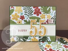 handmade card ... patterned paper fills the background ... luv the layout design for big number dies ... birthday or anniversary here ...  Stampin' Up!