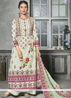 9e11ae348f Cotton Embroidered Green Palazzo Designer Salwar Kameez