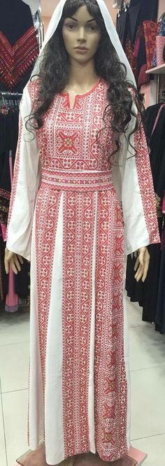 Beautiful white dress / Kaftan with beautiful Red Palestinian cross stitch /embroidery details on front, back, and sleeves. The embroidery on the dress is machine made. Please contact me for more details and other shipping options Beautiful White Dresses, Traditional Dresses, Kaftan, Cross Stitch Embroidery, Sleeves, Red, Fashion, Vestidos, Embroidery