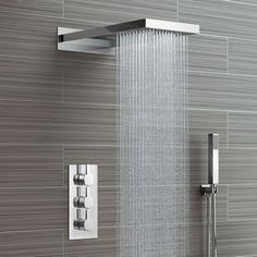 Waterfall & Rainfall Shower Head & Thermostatic Mixer - 3 Way Soak Bathroom Shower Heads, Tiny House Bathroom, Shower Faucet, Modern Bathroom Design, Bathroom Interior Design, Small Bathroom, Cool Shower Heads, Bathroom Storage, Modern Shower Heads