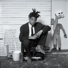 Jean-Michel Basquiat in 1988:Photograph by Dmitri Kasterine. Website: www.kasterine.com. Collection of the Smithsonian National Portrait Gallery, Washington, D.C.