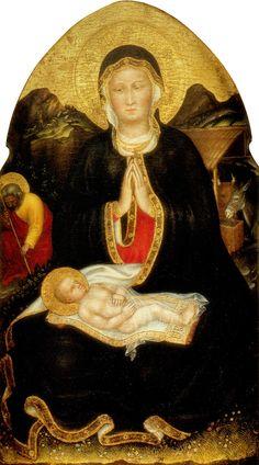 Gentile da Fabriano, or Gentile di Niccolò di Giovanni di Massio (c.1370-1427) — The Nativity, 1420-1422 :  The Getty Center,  Los Angeles, California.  USA   (931×1675)
