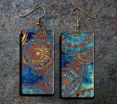 Abstract art polymer clay earrings by adrianaallenllc on Etsy these are done with paint on clay then a photo transfer.