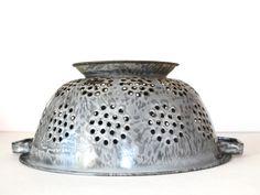 Vintage Gray Enamelware Strainer or Collander - perfect for a vintage light fixture