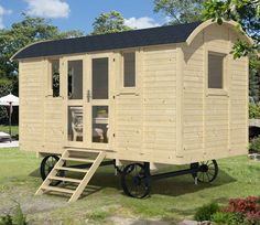 Our Deluxe Shepherd hut - Gypsy caravan measuring in total 2.41 x 5.01m with a double door to one side. A really large and imposing garden building. It features metal wheels, axles and H frame. Ample room inside for a number of applications.    Most of our customers will add to this structure, lining it, insulating and producing a Garden office or accomodation either rented for holiday parks or for private use. The standard model is on show at our Norfolk office.