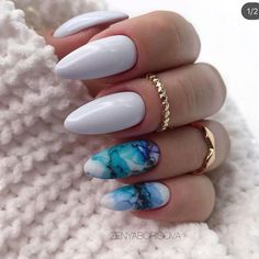 50 Beautiful Nail Art Designs & Ideas Nails have for long been a vital measurement of beauty and Cute Acrylic Nails, Acrylic Nail Designs, Nail Art Designs, Blue Nails, White Nails, White Almond Nails, Short Almond Nails, Almond Nail Art, Hair And Nails