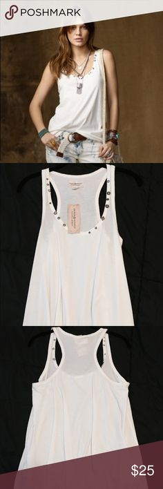 Ralph Lauren Denim & Supply Studded Top Chic and edgy Ralph Lauren Denim and Supply Tank. Brand new with tags attached! Loose, flowy fit with silver stud details around the neck line. Pair with denim or a blazer and fitted skirt. Super cute any way you wear it! Ralph Lauren Tops Tank Tops
