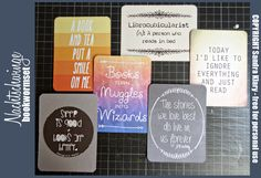 "Free PL card set ""bookworm"" free PL cards project life by nachtschwinge #projectlife #freebie"