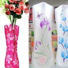 Home Decor Plastic Reusable Foldable Flower Vase. Unbreakable, no fragile and reusable, convenient and new fashion style vase. Foldable and portable, easy to carry and durable in use. Simply fill it with water then it takes shape as a flower vase, and when not in use, just empty the water, it become a thin plastic paper, magic and space-saving. | eBay!