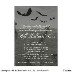 """Graveyard """"All Hallows' Eve"""" Halloween Party Invitation Card Creepy graveyard with bats flying in the sky """"Enchanting All Hallows' Eve Celebration"""" design Halloween party invitations. Customize with your party details and send out to your guests. Reverse side of invitation is a graveyard design. If you would prefer to leave white, use the customize it button and remove the artwork from the template."""