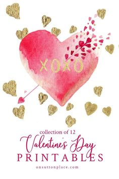 Free Valentine's Day Printables that are available for instant download. Use for DIY wall art, cards, crafts, banners, and more!
