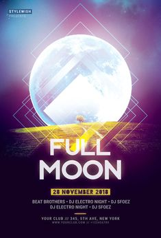 Buy Full Moon Flyer by styleWish on GraphicRiver. Full Moon Flyer The PSD file is very well organized in folders and layers. Flyer Design Templates, Flyer Template, Dj Electro, Full Moon Party, Halloween Flyer, Carnival Ideas, Christmas Flyer, Club Flyers, Party Poster