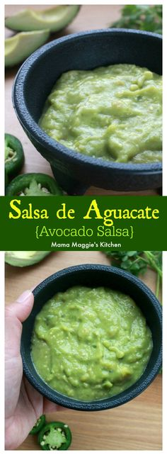 Salsa de Aguacate, or Avocado Salsa, is spicy and smooth. Creamy and totally dreamy. It's the perfect topping for grilled carne asada or breakfast tacos. By Mama Maggie's Kitchen