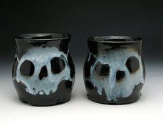 Skull Coffee Mugs Skull & Crossbones Skull by NicolePangasCeramics
