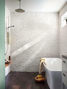 Dress up your bathroom shower tile with one of these inspiring design concepts. We have shower tile ideas that will stand out, blend in, and complement your existing bathroom features. Open Bathroom, Master Bathroom, Master Baths, Small Bathrooms, Bathroom Wall, Bad Inspiration, Bathroom Inspiration, Mini Bad, Douche Design