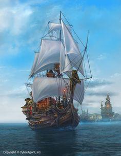 「帆船・天空のクリスタリア」/「ucchiey」のイラスト [pixiv]