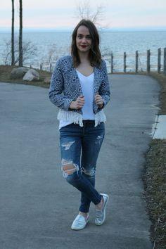 Blue fringe aztec jacket