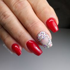Swarowski red acrylic nails ❤️ Red Acrylic Nails, Nails Design, Beauty, Beleza, Cosmetology