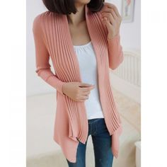 Long Sections Beam Waist Cotton Solid Color Cardigan For Women