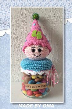 ... omgehaakt etc on Pinterest Crochet jar covers, Haken and Jar lids