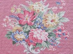 Sweet Cottage Vintage 40s Barkcloth Bouquet on Pink Fabric Piece | eBay So pretty! Vintageblessings