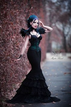 "mysticthread: "" Black lace feather gothic victorian neck corset and black feather costume shoulder pads Mystic Thread - www.mysticthread.com Model, make-up, styl, edit: Daedra Photographer: Unit Foto Feather neck corset & shoulder pads: Mystic..."