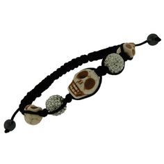 Sham Creme and CZ Fire Ball Skull Charm Pendant Bracelet