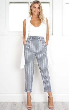 Showpo I Belong With You pants in grey stripe - 12 (L) Pants &