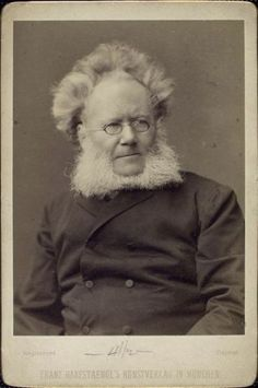 nypl:    For today's Mustache Monday, let us introduce Henrik Ibsen (1828-1906), Norwegian playwrite, author of A Doll's House and Hedda Gabler, among others. Clearly, electrified hair = great theater (see also: Peter Sellers).  This photo is one of over 260 portraits of notable figures collected by radical publisher Benjamin R. Tucker in the late 19th century. Check them out here.