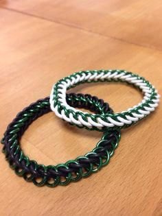 Two Shiny Green Bracelets  1  White Stretchy 1 Black by MelonLove, $24.00