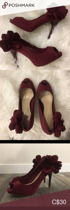 a few marks/stains but has been cleaned; flower detail on both shoes; have received so many compliments anytime they have been worn! Burgundy Heels, Plus Fashion, Fashion Tips, Fashion Trends, Compliments, Kitten Heels, Shoes Heels, Stains, Footwear