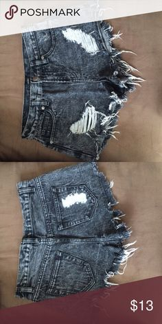 Forever 21 high waisted shorts Forever 21 high waisted shorts in blk stone wash, distressed look in sz 28. Gently used like new Forever 21 Shorts Jean Shorts