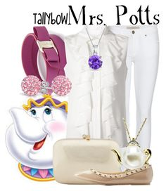 """""""Mrs. Potts"""" by tallybow ❤ liked on Polyvore featuring Burberry, Salvatore Ferragamo, Chloé, Bling Jewelry, Serpui and Charlotte Russe"""