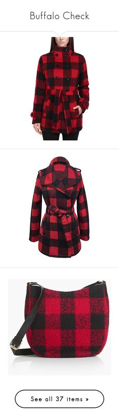 """Buffalo Check"" by astridrm ❤ liked on Polyvore featuring outerwear, jackets, red jacket, fleece jacket, ike behar, red fleece jacket, coats, plus size, knit jacket and buffalo check jacket"