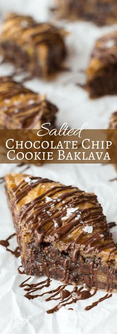 Salted Chocolate Chip Cookie Baklava, looks yummmmmss Just Desserts, Delicious Desserts, Yummy Food, Pavlova, Salted Chocolate Chip Cookies, Chocolate Baklava, Dessert Chocolate, Chocolate Bars, White Chocolate