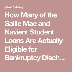 look sallie student loans discharged bankruptcy