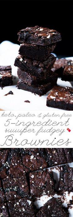Suuuper Fudgy Gluten Free, Paleo & Keto Brownies only 1g net carbs a pop! #ketobrownies #paleobrownies